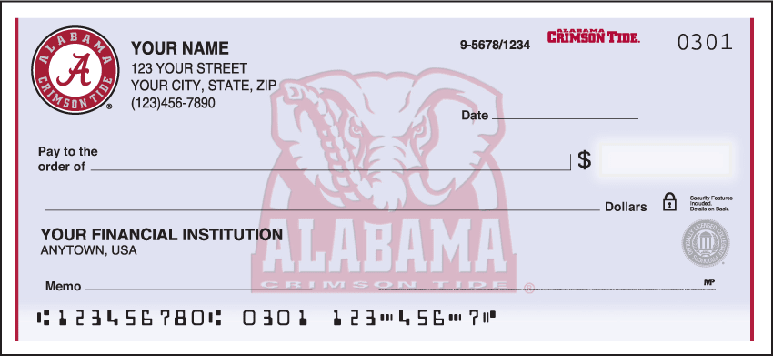 Enlarged view of alabama logo checks