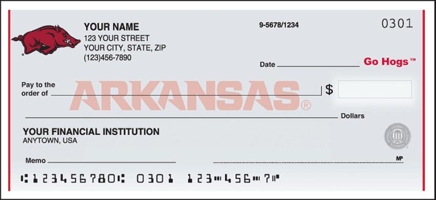 Arkansas Logo Checks - click to view larger image