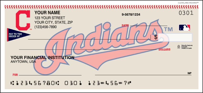 Cleveland Indians¿ Checks - click to view larger image