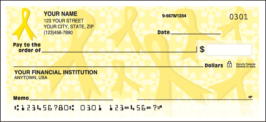 Gold Ribbons of Support Checks - click to view larger image