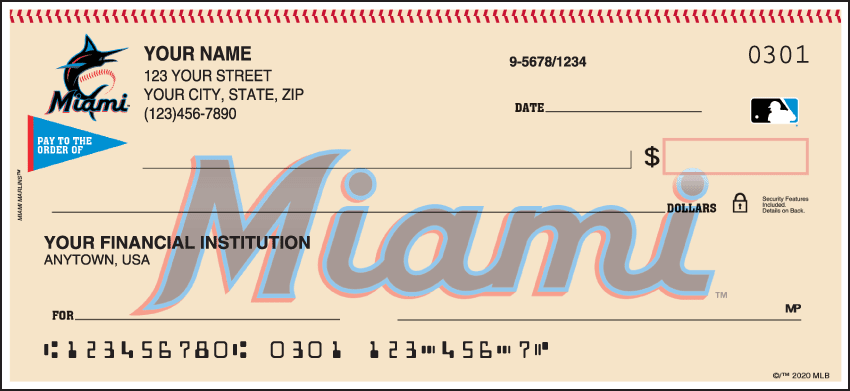Miami Marlins Checks - click to view larger image
