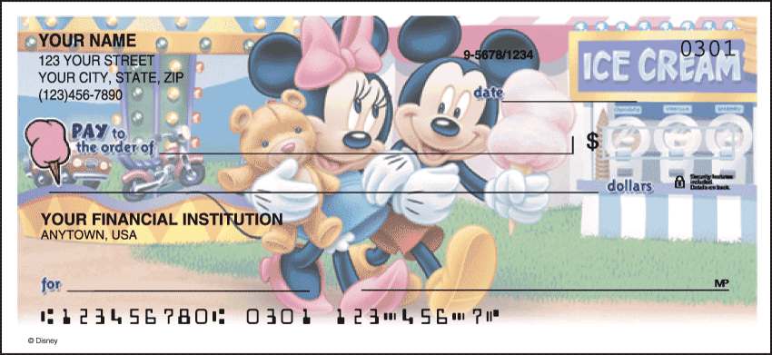 Side Tear - Disney Mickey's Adventures Checks - click to view larger image