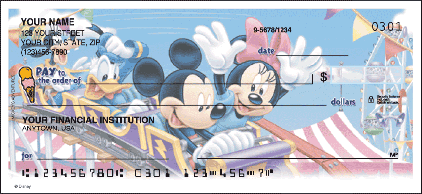 side tear - disney mickey's adventures checks - click to preview