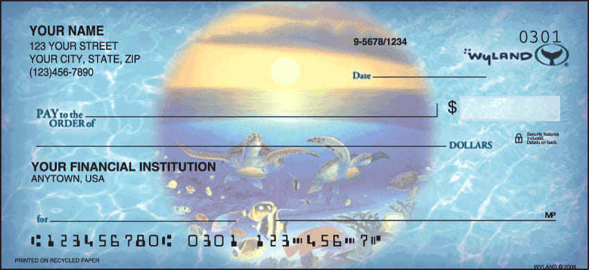 Ocean World by Wyland Checks - click to view larger image