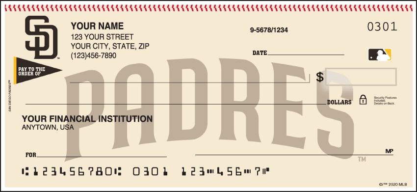 San Diego Padres Checks - click to view larger image