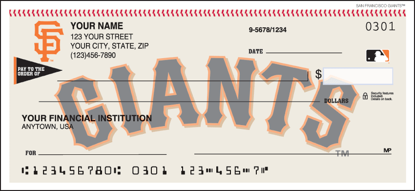 San Francisco Giants¿ Checks - click to view larger image