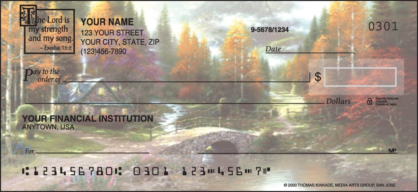 serenity by kinkade with verse checks - click to preview