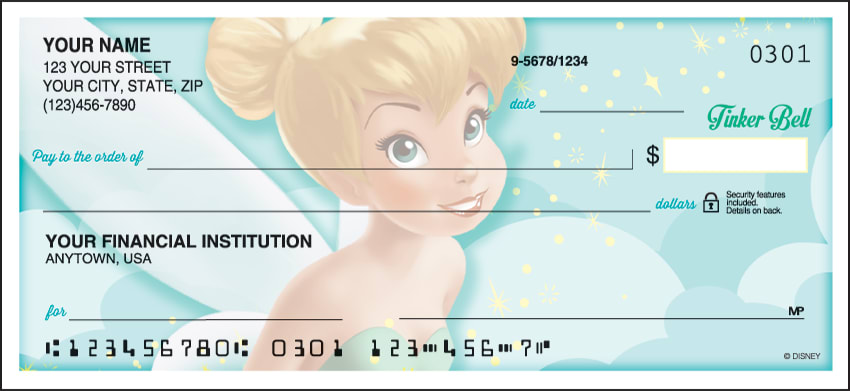 Side Tear Disney Tinker Bell Checks - click to view larger image