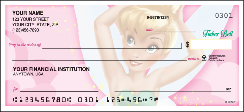 side tear disney tinker bell checks - click to preview