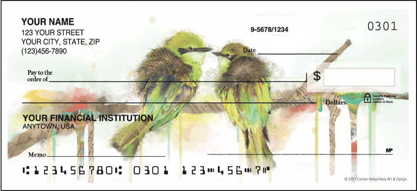 Watercolor Birds Checks - click to view larger image