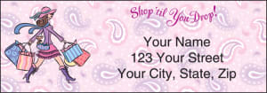 Enlarged view of pampered girls¿ address labels