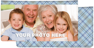 Enlarged view of Blue Plaid Photo Checkbook Cover