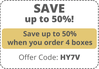 Save up to 50%! Save up to 50% when you order 4 boxes. Offer Code: H Y 7 V