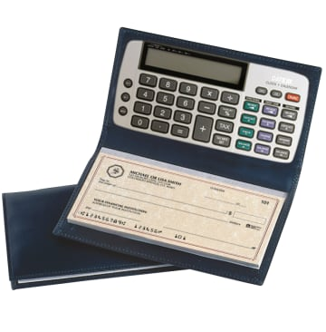 Black Leather Checkbook Cover with Calculator – click to view product detail page