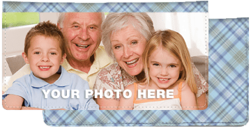 Blue Plaid Photo Checkbook Cover – click to view product detail page