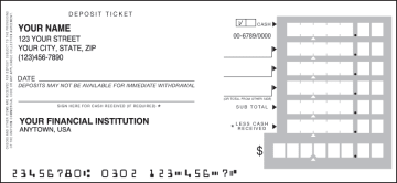 One Part Deposit Slips - click to view larger image