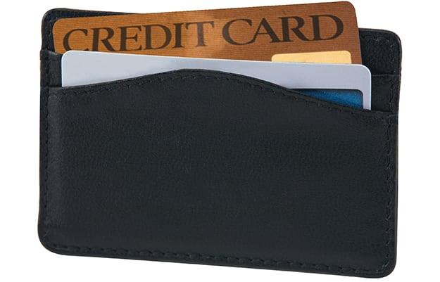 Black Leather Credit Card Sleeve