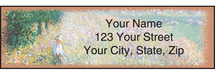 Enlarged view of impressionist address labels