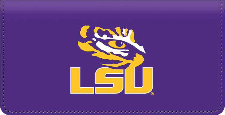 Enlarged view of lsu logo checkbook covers