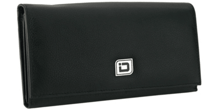 Ladies Leather Clutch - Black - click to view larger image