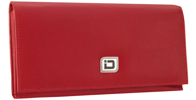 Ladies Leather Clutch - Red - click to view larger image