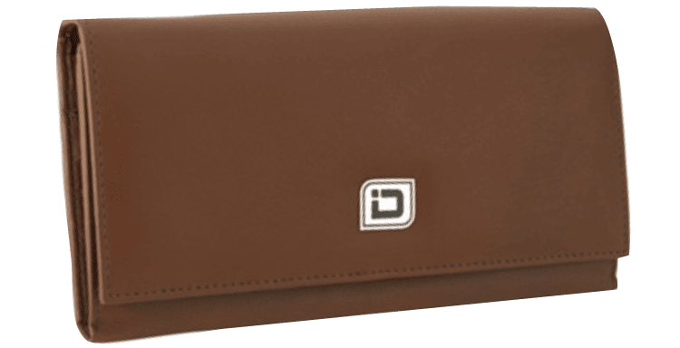 Ladies Leather Clutch - Tan - click to view larger image
