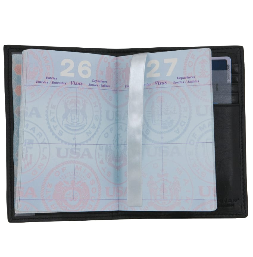 Black Leather Passport Case - click to view larger image