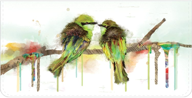 Watercolor Birds Checkbook Cover - click to view larger image
