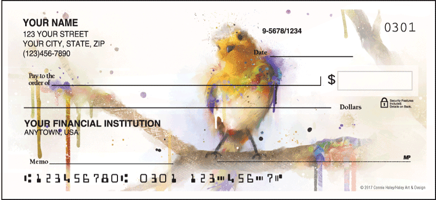 Watercolor Birds Checks - click to preview