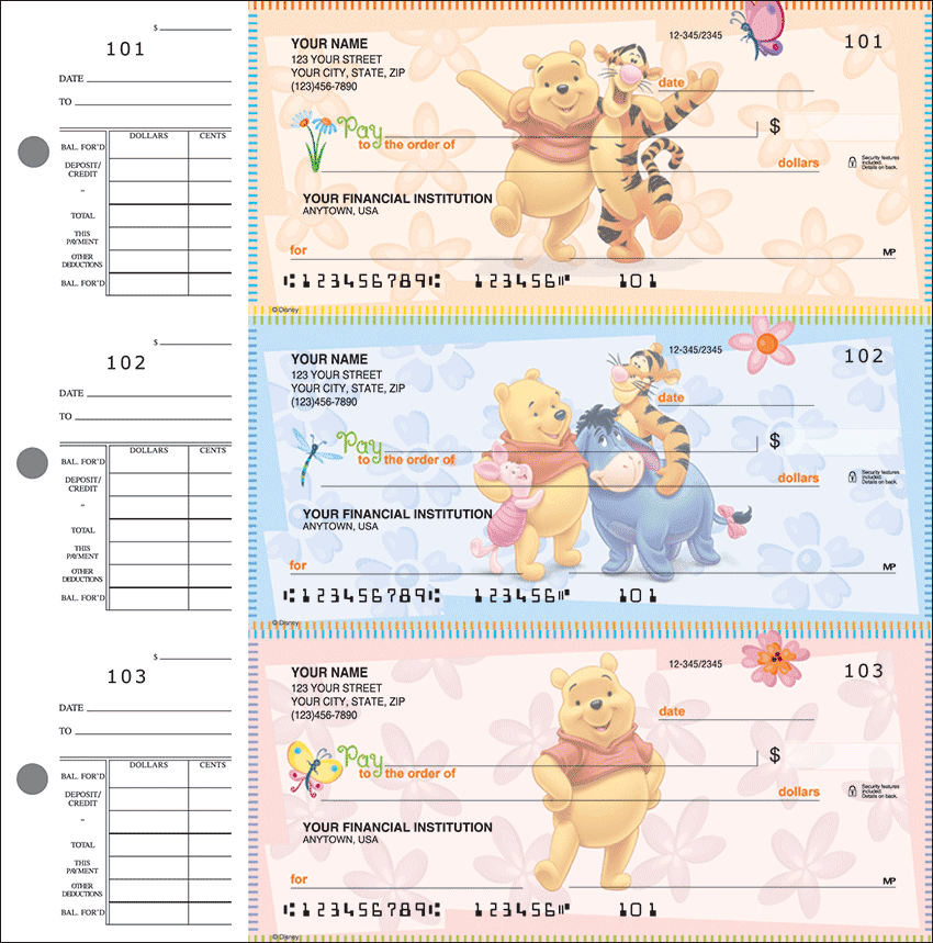 Disney Winnie the Pooh Desk Set Checks - click to view larger image