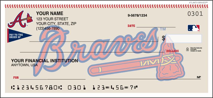 Atlanta Braves MLB Personal Checks - 1 Box - Duplicates
