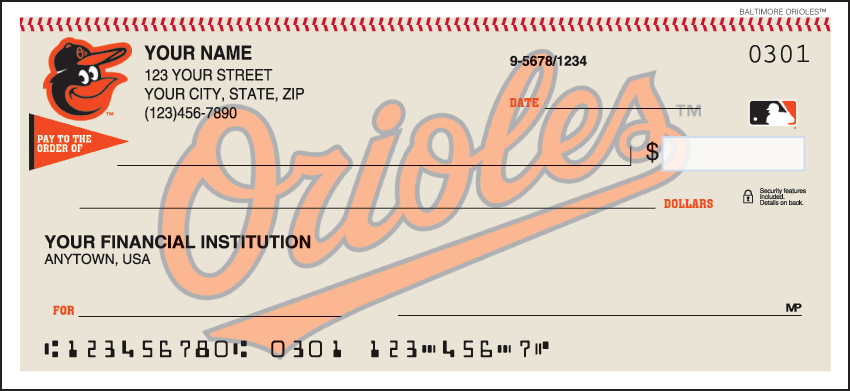Baltimore Orioles MLB Personal Checks - 1 Box - Duplicates