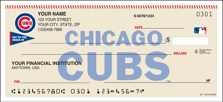 Chicago Cubs MLB Personal Checks - 1 Box - Duplicates