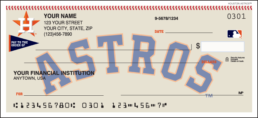 Houston Astros MLB Personal Checks - 1 Box - Singles