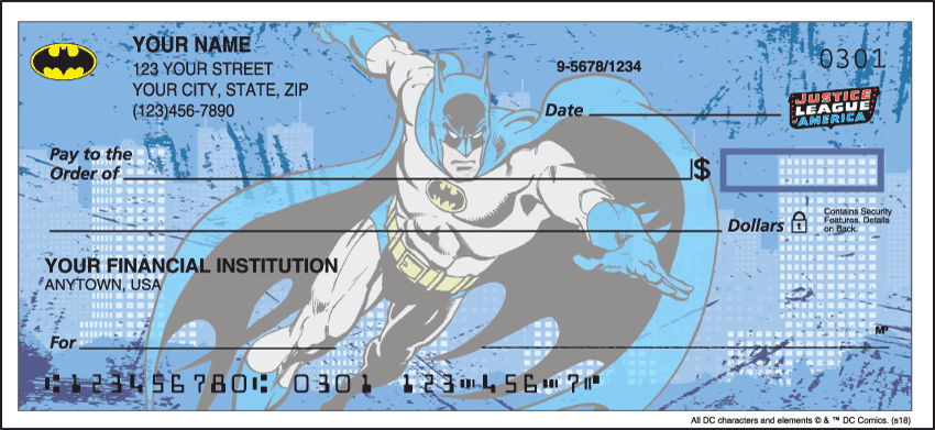The Justice League Comic Personal Checks - 1 Box - Singles