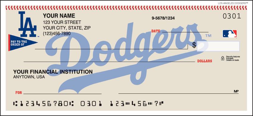Los Angeles Dodgers MLB Personal Checks - 1 Box - Duplicates