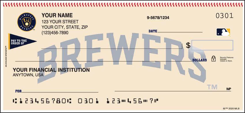 Milwaukee Brewers MLB Personal Checks - 1 Box - Singles