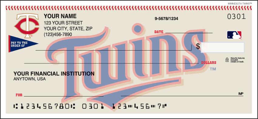 Minnesota Twins MLB Personal Checks - 1 Box - Singles