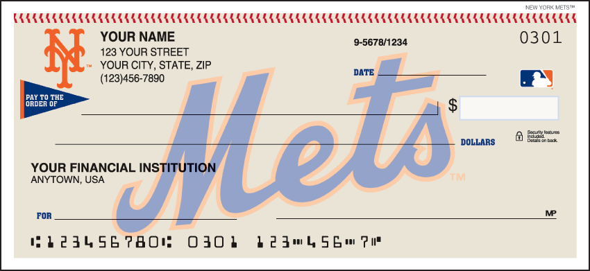 New York Mets MLB Personal Checks - 1 Box - Singles