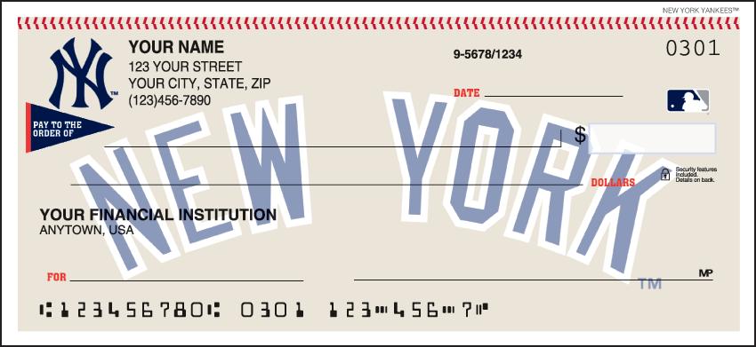 New York Yankees MLB Personal Checks - 1 Box - Singles
