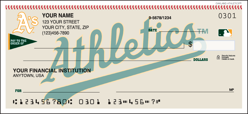 Oakland Athletics MLB Personal Checks - 1 Box - Duplicates