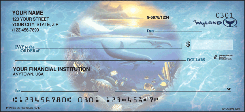 Ocean World by Wyland Scenic Personal Checks - 1 Box - Duplicates