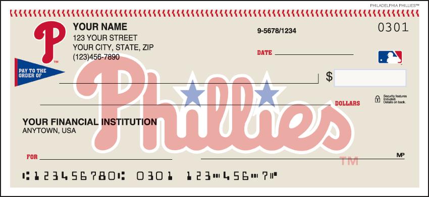 Philadelphia Phillies MLB Personal Checks - 1 Box - Singles
