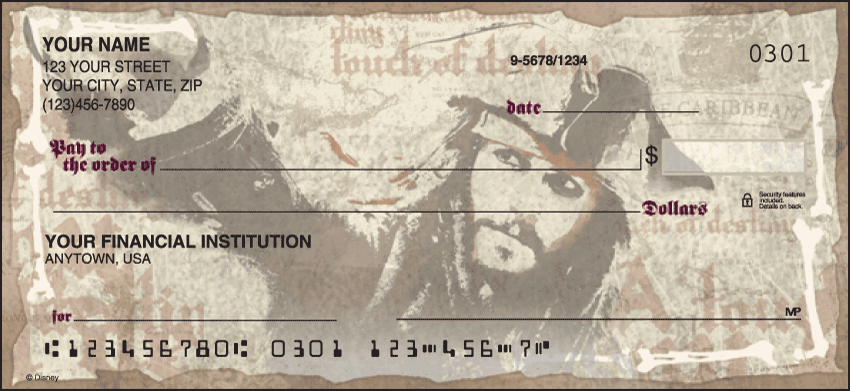 Pirates of the Caribbean Disney Personal Checks - 1 Box - Singles