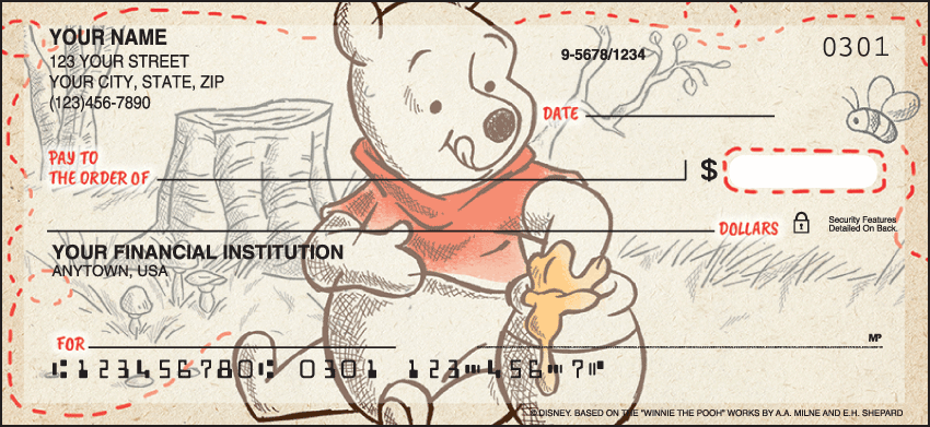 Disney Pooh & Friends Disney Personal Checks - 1 Box - Singles