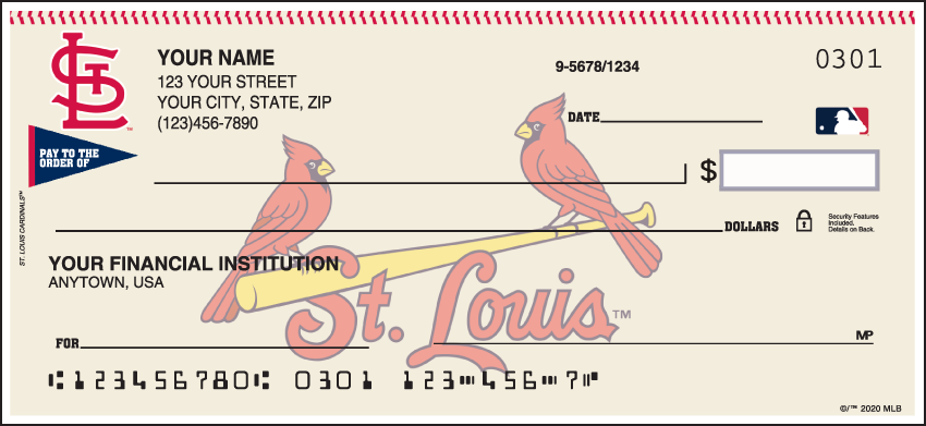 St. Louis Cardinals MLB Personal Checks - 1 Box - Singles