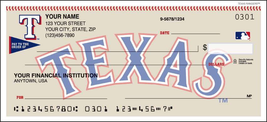 Texas Rangers MLB Personal Checks - 1 Box - Singles