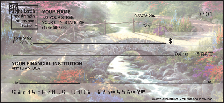 Image of Serenity Thomas Kinkade Checks with Bible Verse