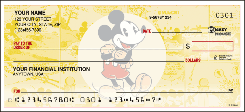 Vintage Mickey Disney Personal Checks - 1 Box - Duplicates