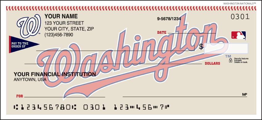 Washington Nationals MLB Personal Checks - 1 Box - Duplicates